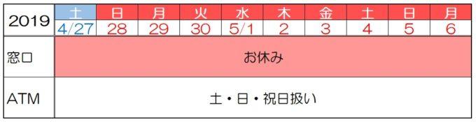 三井住友銀行の2019年ゴールデンウィークの窓口・ATMの営業時間