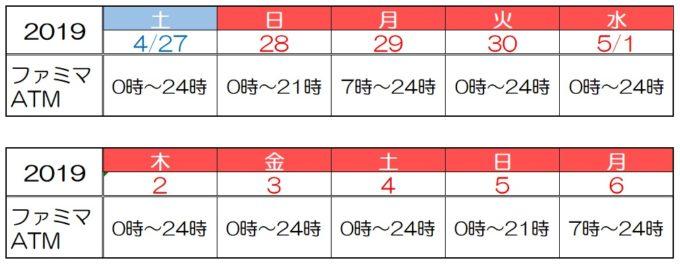 三井住友銀行の2019年ゴールデンウィークのファミマATMの営業時間